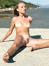 Outdoors Nippels, Small titted sexy blonde with tanlines posing on the beach