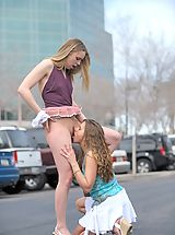 Naked FTV Girls, Anna and Amber make out in public