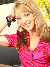Busty brunette milf Shayla Laveaux shows off her needy cougar pussy in the office