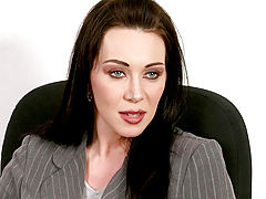 Milf Vids: Dark haired blue eyed milf siren rayveness flirts with the office help