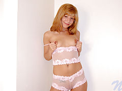 Nipple Sucking, Chastity bends over on her bed and stuffs her teen pussy with a toy