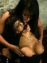 Fetish Pics: Two busty brunettes in BDSM sex action featuring Eva Angelina