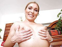Erect Nipples, Mature anilos rubs her pussy through her sheer floral panties