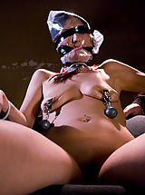 Fetish Nippels, Sexy shaved girl, bound and foced to cum in dirty rundown room.