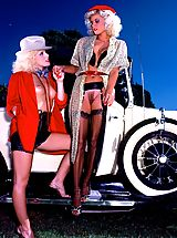 Suze Randall Nippels, Ginger Lynn and Desiree Lane are all over a beautiful vintage car.
