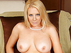 Bumps on Areola, Vivacious milf Kara Nox twists and turns a glass dildo in her moistened pussy
