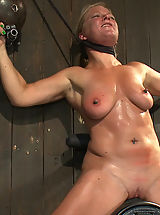 Nipple, Dia Zerva and Ariel X on sybians with severe nipple bondage. Bondage sluts are flogged heavy and whipped hard. Nipples cinched tight during orgasms.