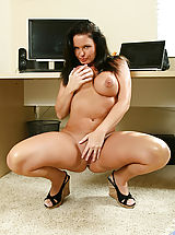 Milf Pics: Busty anilos cougar maya divine flaunts her body in all of its naked glory in her home office
