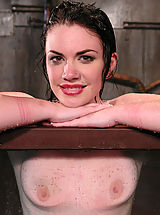 Fetish Nippels, Sexy, glamorous brunette is bound sprayed and dunked.