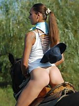hot ass, Naked stunning busty Alena riding horse
