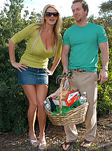Kelly Madison and Ryan celebrate St. Patrick's Day by by fucking Janet Mason their redheaded leprechaun outside.