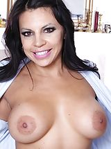 Erect Nipples, Big Busted Latin office wife Eva Salizar undresses on the desk.