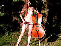 Outdoors Vids: Amazing teen taking off clothes and playing the cello in the nude on the nature on movies.