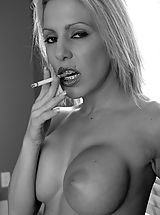 Naked Brutal Dildos, Kream Smoking In Black And White