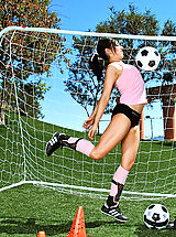 naked asian, Hot brunette practices her soccer moves before fucking a cock on the field