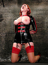 Fetish Nippels, Busty girl in latex dominated and bound.