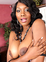 Gorgeous busty ebony Nyomi Banxxx has intense rough sex with one of her son's friends.