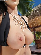 Erected Nipples, Bare Sexy Adulteress 947 Breanne Benson shows those tremendous boobs