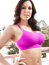 Milf Nippels, Kendra Lust Sexy Slut exposes her uncovered tits, draws down her under garments and opens her limbs and diddles her tight slit