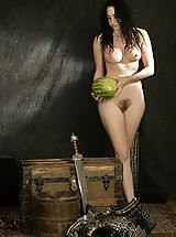 Retro Clothing, WoW nude shakti butchering watermelon
