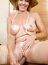 huge erect nipples, Alluring milf Samantha Stone tortures her cougar snatch with a massive sex toy