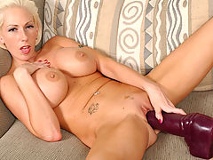 black naked, Kasey inserting a very big brutal dildo!