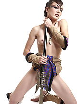 Naked True Beauty, Sexy warrior getting naked and leaking her ax