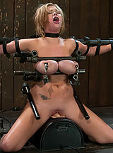 Big.Tits Nippels, Big titted bitch bound on a sybian and made to cum over and over, metal breast bondage!