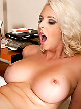 Naughty America Pics: Mandy Sweet sucks his cock and fucks him hard