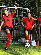 Pillow Biter, Three sexy girls warm up on the soccer field before taking advantage of the coaches hard dick.