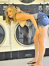 Girlfriends Pics: Drew plays doing her laundry
