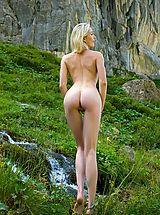Naked Girl Katy in Swiss Mountains