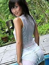 naked boobs, Asian Women lolita cheng 10 water pool wet shirt small tits