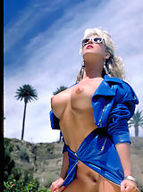 Swimsuits, One of the sexiest pornstars from the '80's Angela Baron shows off her sizzling curves poolside!